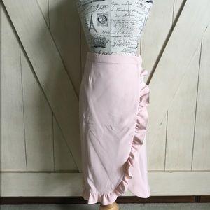 💐Asos Pink Ruffle Hem Wrap Pencil Skirt💐